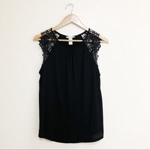 H&M Tops - H&M Black Top w/ Lace Sleeves - Size S